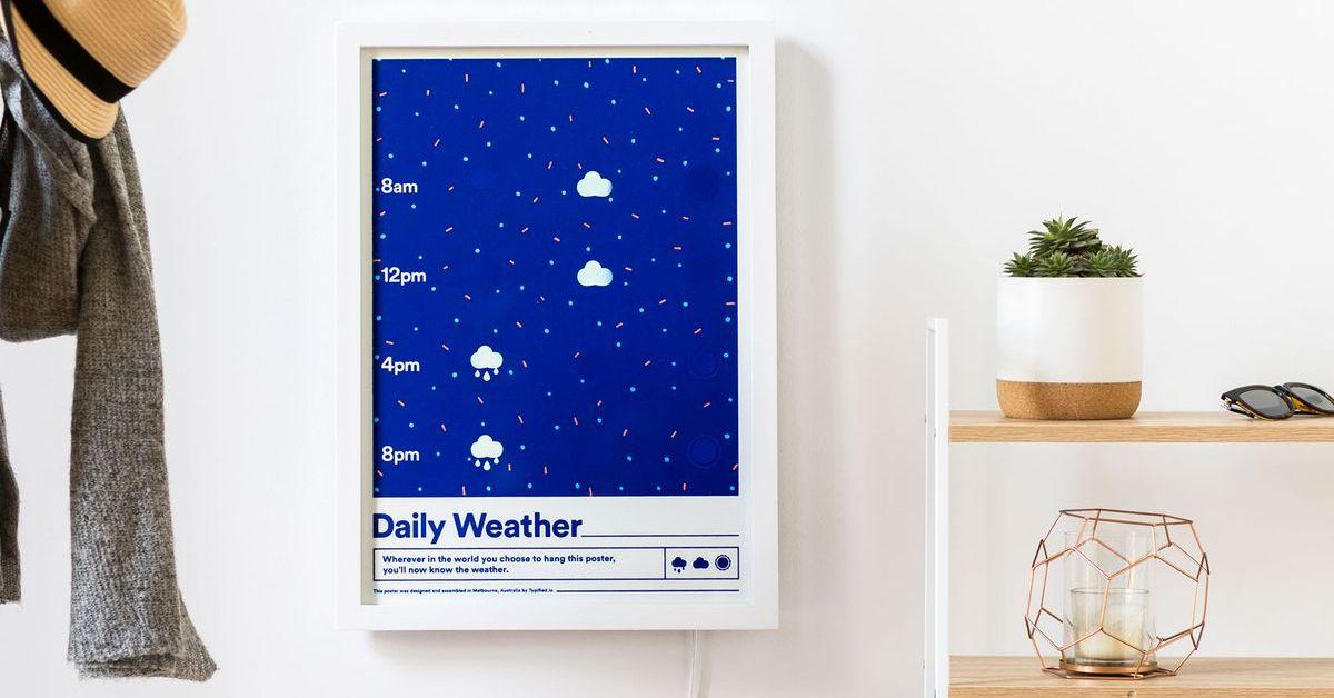Mrak čtyřikrát denně. Plakát hlásí počasí
