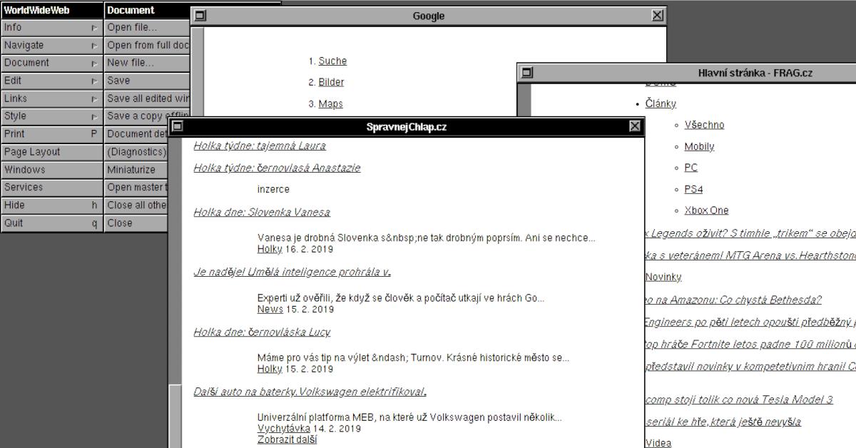 Web v roce 1990. Takhle vypadal první internetový prohlížeč